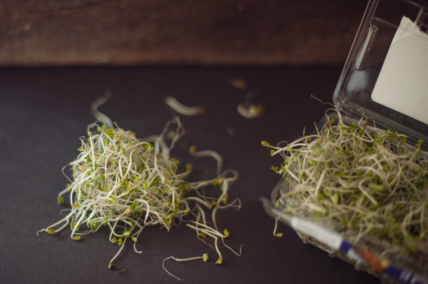 A clump of fresh broccoli sprouts sits beside its packet on a table to indicate that antioxidants are important