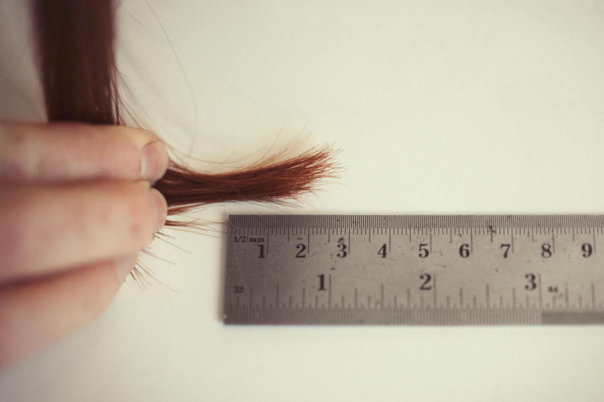 Naturopath Lisa Fitzgibbon displays her red hair against a ruler to indicate how much hair is required for testing