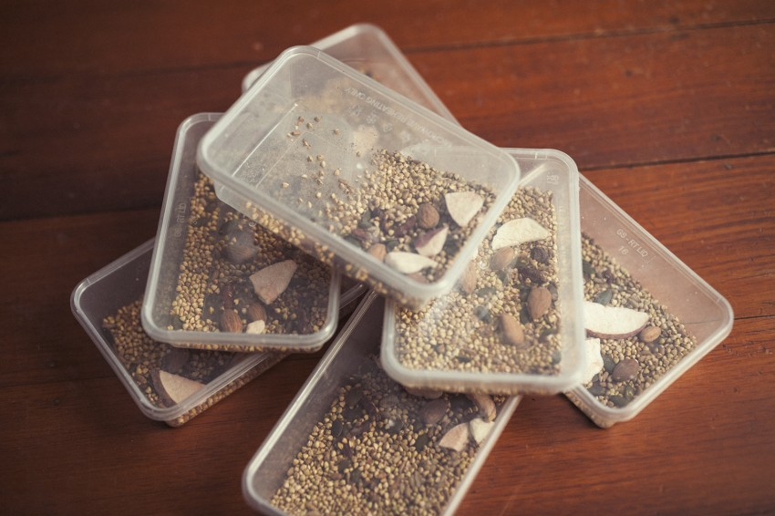 Various Little Bird cereals are portioned and packed into containers as they make a good protein snack