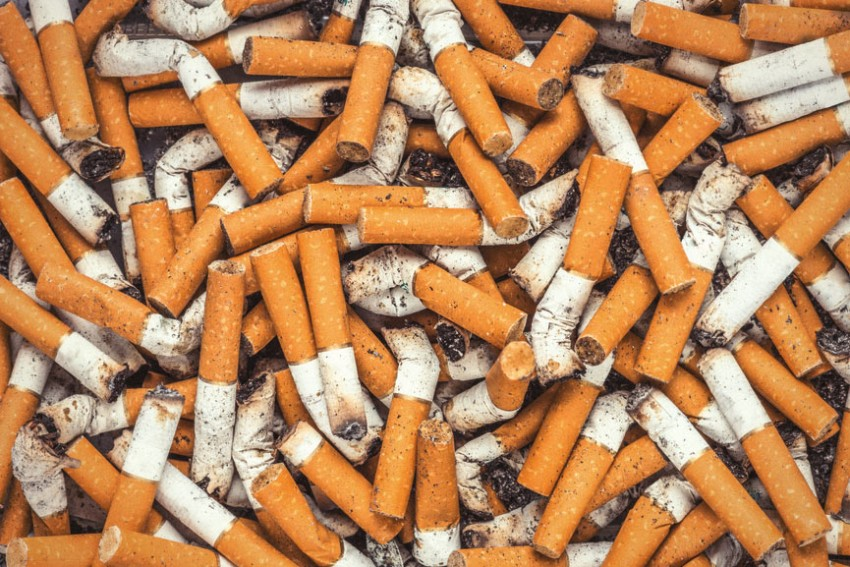 A huge pile of filthy cigarette butts
