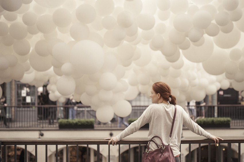 Naturopath Lisa Fitzgibbon looking at the cloud installation at Covent Garden pondering her blog about health