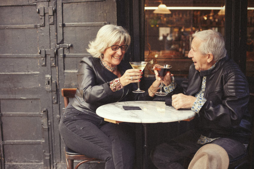An elderly couple enjoy good quality alcohol which drunken in moderation should aid their libido