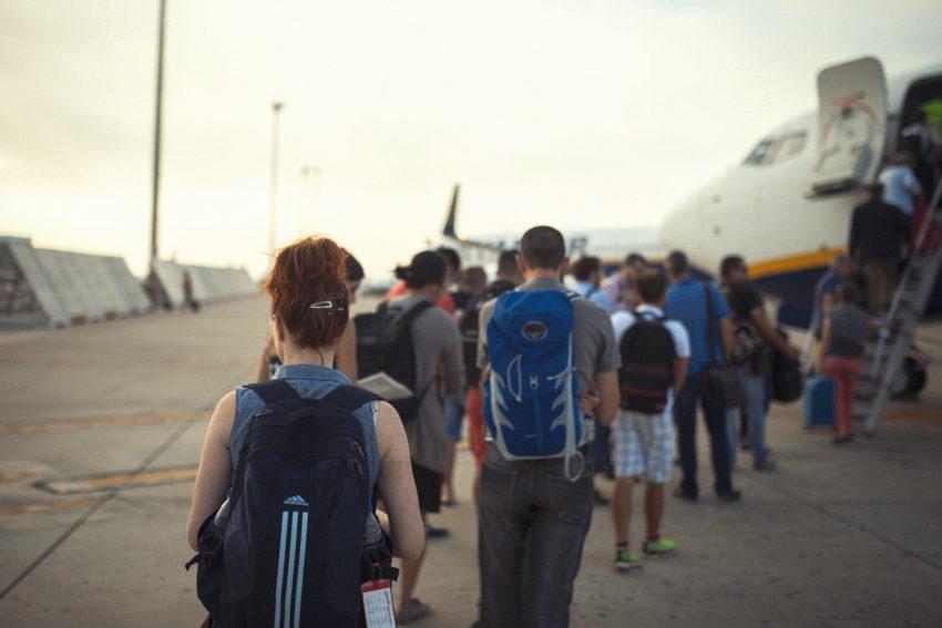 Naturopath Lisa Fitzgibbon about to board an overseas flight enjoying a minimalist lifestyle