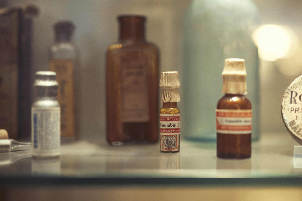 Bottles of medicine in a display stand at a Museum in Amsterdam