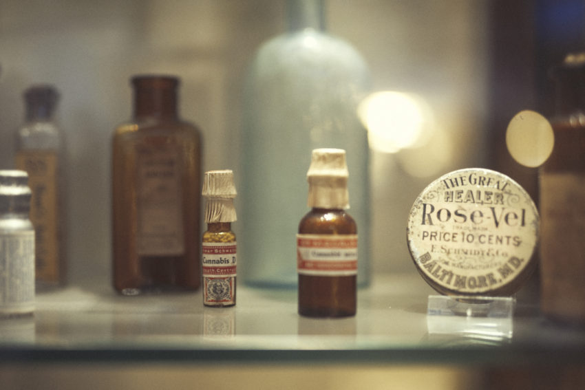 Medicinal bottles at the Cannabis Museum in Amsterdam display health properties of Cannabis